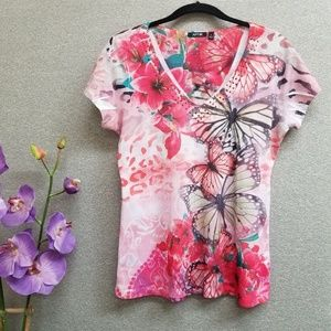 Apt 9 butterfly floral animal paisley print top